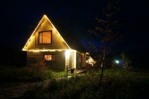 Ночная подсветка на турбазе Сибирка